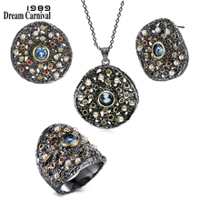 DreamCarnival 1989 Exaggerated Women Gothic Jewelry Set Earings Ring Pendant Necklace Mix Cubic Zircon Synthetic Pearl ERP6532S3