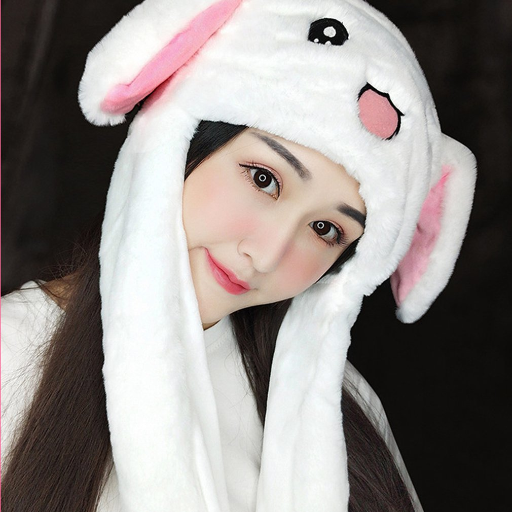 Plush Moving Rabbit Ears Hat Funny Hand Pinching Airbag Magnet Soft Hat Controllable Long Ears Cute Animal Gift Rabbit Ear Hat