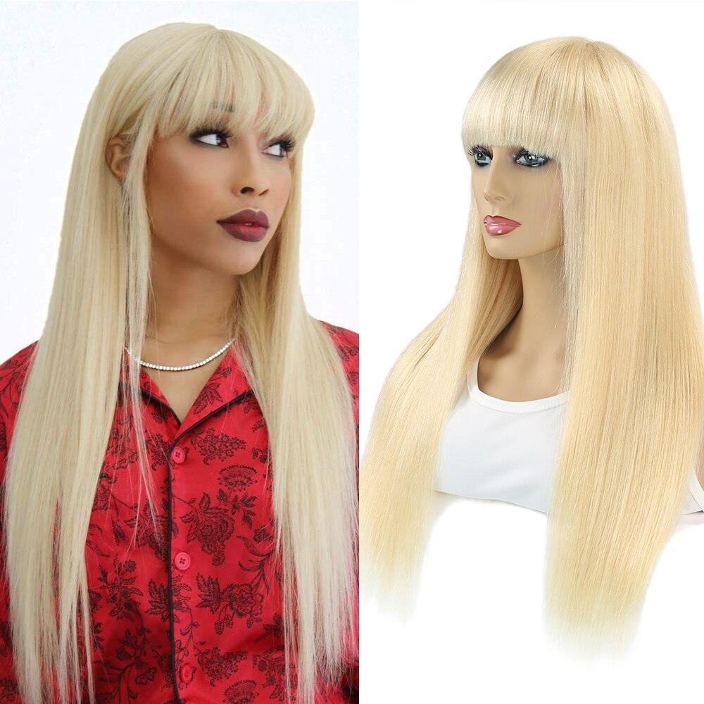 Блонд шелковые прямые Омбре человеческие волосы парики с челкой для женщин бразильский полный парик с бахромой машина сделал парик с челко...