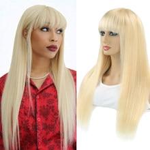 Perruque brésilienne Remy avec frange pour femmes, cheveux naturels lisses, fait à la Machine