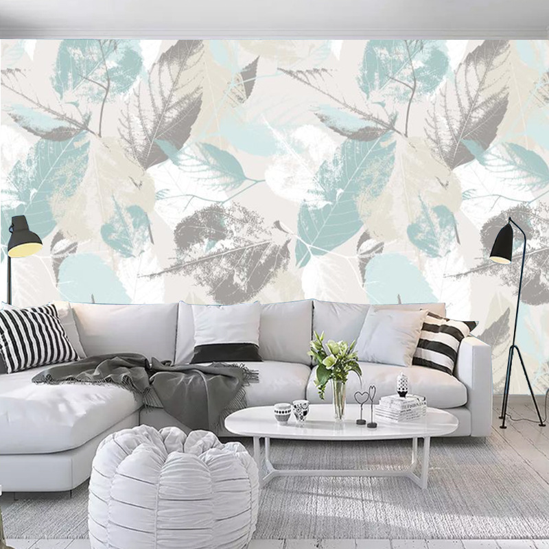 Nordic Wallpaper Creative Leaf Non-woven Wallpaper Simple Art Wallpaper TV Backdrop Customize The Murals