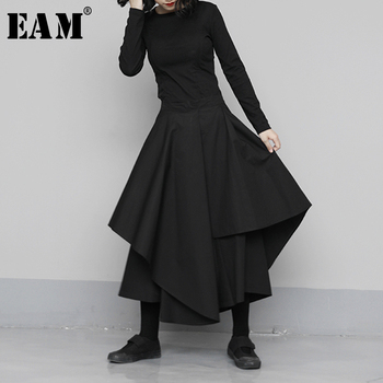 [EAM] High Elastic Waist Black Asymmetrical Wide Leg Trousers New Loose Fit Pants Women Fashion Tide Spring Autumn 2021 1N683 1