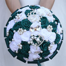 White Green Wedding Bridal Bouquets Holder Artificial Flower Bouquet Silk Ribbon Crystal De Fleurs Mariage de noiva W112