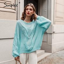 Simplee Hollow out moherowe swetry damskie swetry jesień zima latarnia rękaw kobiet pomarańczowy sweter Oversize ladies jumper 2019