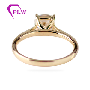 Image 4 - Customizd 14K Yellow Gold 9x9mm 3.5ct Cushion Old Europe Cut D Color VVS Moissanite 2mm Band Width Solitaire Ring Fast Shipping