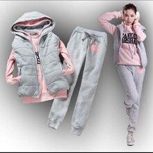Hot selling Women's sweatshirt vest pants 3 pieces Set plus