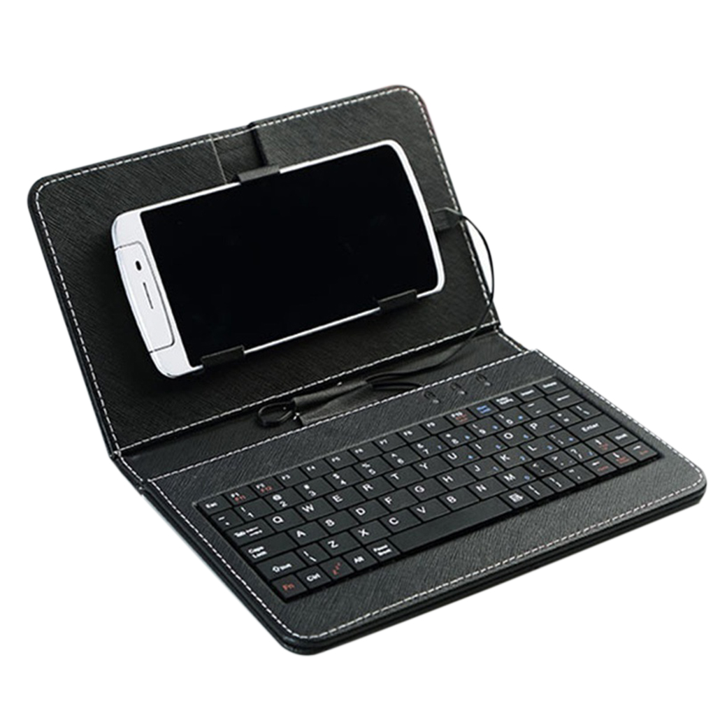 Bluetooth Keyboard PU Leather Phone Case Wired Keyboard Holster Universal Protector Replacement For Andriod