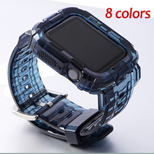 Soft Transparent Silicone watch band for apple watch 5 4 3 2 1 Case+Strap for iwatch 40mm 42mm 38mm Rubbe bands for applw watch