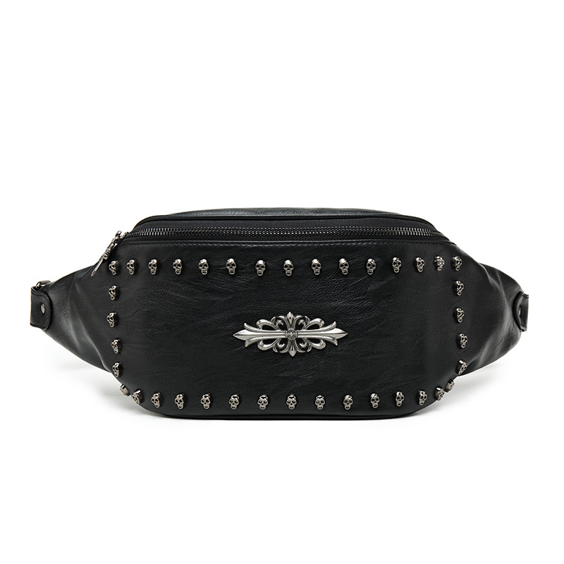Mihaivina Leather Fanny Pack For Men Rivet Crossbody Pouch Bag Rock Skull Unisex Belt Bag Women Large Capacity Black Waist Bags
