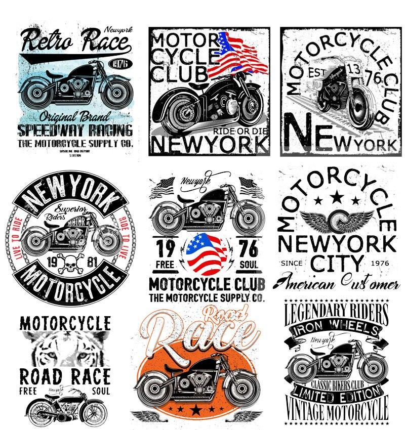 ברזל על תיקוני תיקוני אופנועים בגדי יישומים תרמו העברת עבור בגדי Biker תגי מדבקות פאנק DIY חולצה E