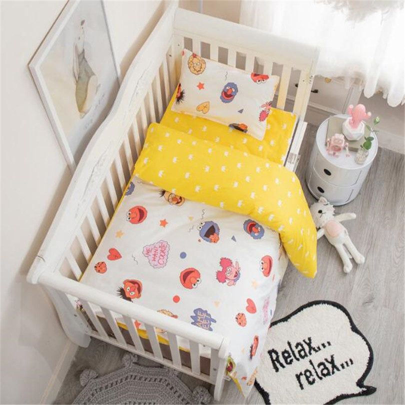 Baby Bedding Set Crib Bedding Duvet Cover Pillowcase Sheet Cotton Cartoon Soft Breathable Crib Baby Bed Set Kid Bed Linens Set