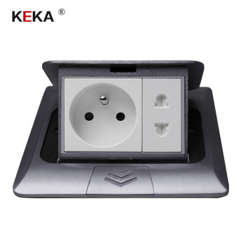 KEKA All Aluminum Silver Panel 16A French Standard Table Socket + Universal 2 Hole Pop Up Floor Power Outlet