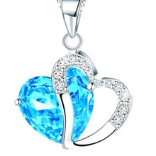 2018 New Zircon Crystal Silver Color Jewelry Fashion Necklace For Women Heart Long Chain Necklace Fine Jewelry(China)