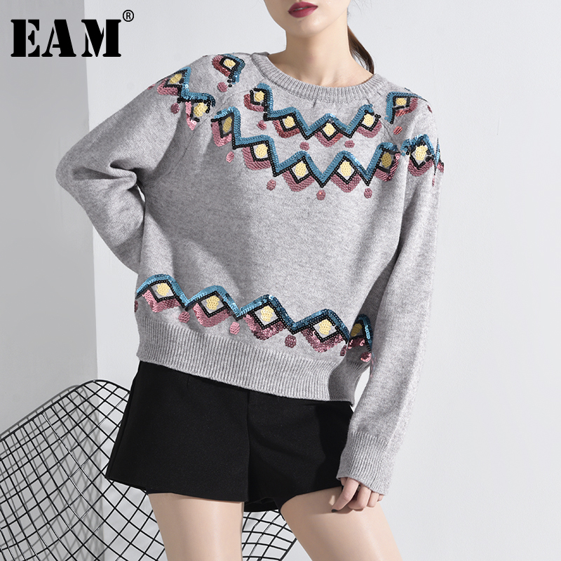 [EAM] Big Size Sequins Knitting Sweater Loose Fit Round Neck Long Sleeve Women Pullovers New Fashion Tide Spring 2020 JH98402