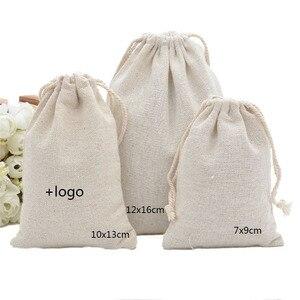 Заказной логотип мешок ювелирных изделий экологически чистый хлопок лен мешок шнурка бобы контейнер упаковывая сумки 7x 9/10x1 3/12x16cm