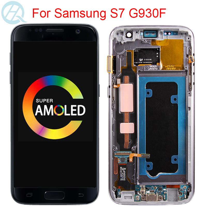 Original G930F Display For <font><b>Samsung</b></font> <font><b>Galaxy</b></font> <font><b>S7</b></font> G930F <font><b>LCD</b></font> <font><b>With</b></font> <font><b>Frame</b></font> 5.1