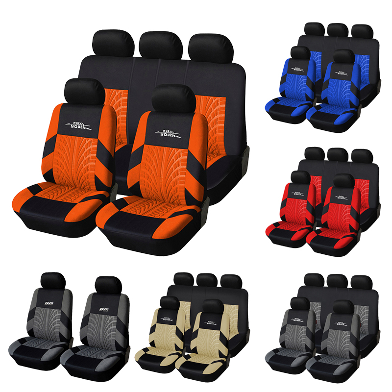 AUTOYOUTH Auto Sitzbezüge Vollen Satz Auto Seat Protector Auto Sitzbezüge Polyester Stoff Universal Passt Meisten Autos Deckt Orange