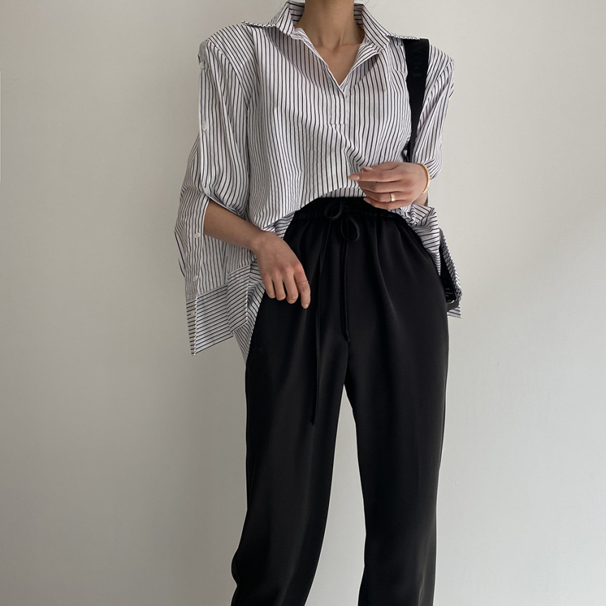 H3dc19ce00fea415e9d7ff7d8d7cde96cd - Spring / Autumn Turn-Down Collar Long Sleeves Back Slit Loose Striped Blouse