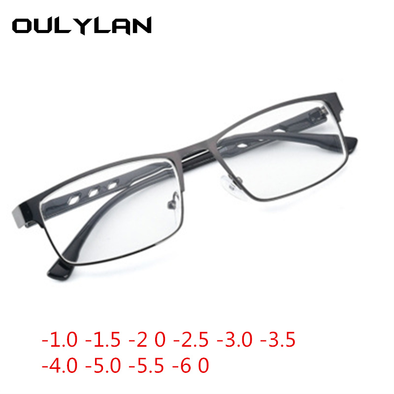 Oulylan Finished Myopia Glasses Women Men Vintage Square Metal Frame Design Fashion Students Short Sight Eyewear For Unisex