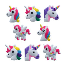 1PCS Unicorn Little Horse PVC Shoe Charms Accessories Fit for Shoes Bracelets Bands Croc JIBZ Shoe Buckles Ormaments Boy Gifts(China)