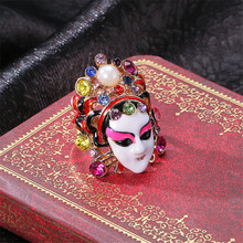 Delicate Chinese style personality Peking Opera mask ring female folk wind index finger opera ornaments hand