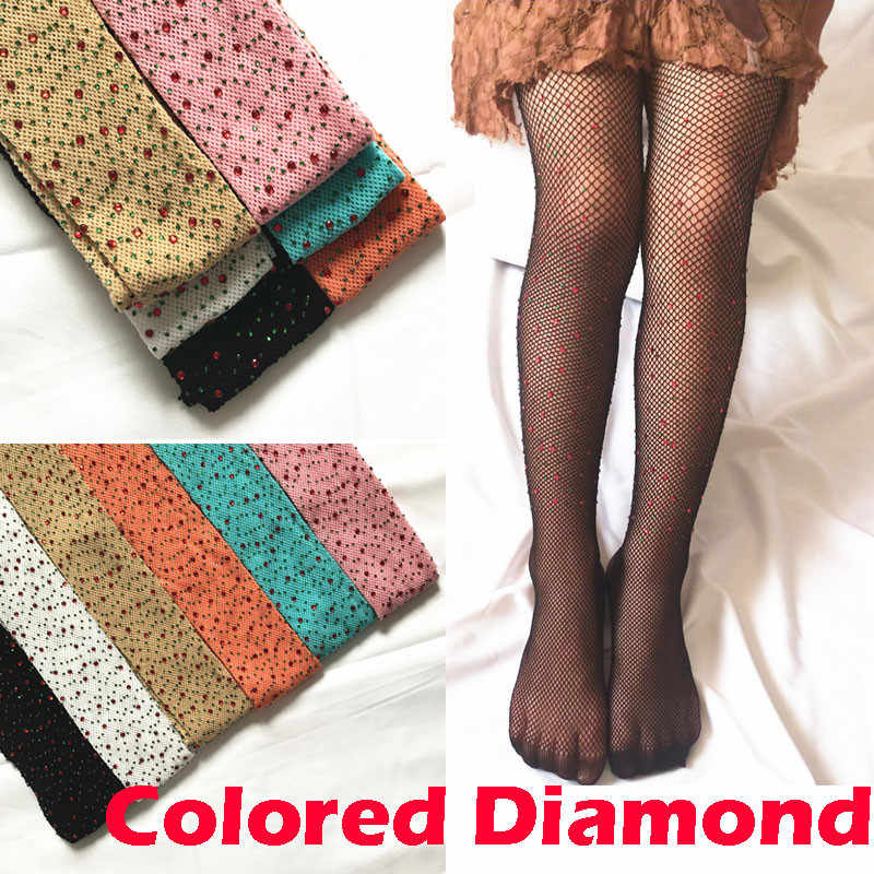 Kids Girls Fishnet Stockings Colored Diamonds Mesh Pantyhose Fashion Children Girl Rhinestone Hollow Out Tights Stockings 7-10Y