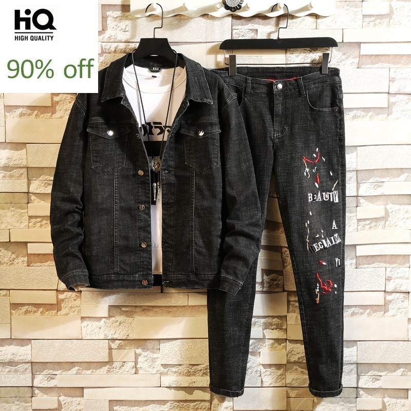 Winter Denim Jacket Men Embroidered Jeans Suit Street Slim Fit Single Breasted Frayed Cowboy Coat Jeans Two Piece Set Plus Size