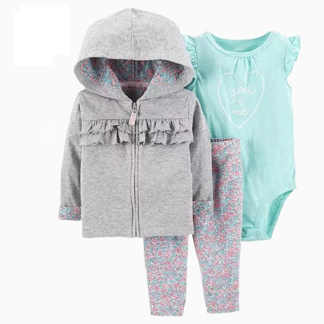 baby girl clothes long sleeve hooded jacket+floral bodysuit+pant 2020 fashion newborn outfit fall infant clothing set zipper 2