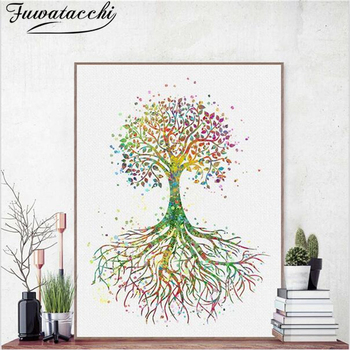Fuwatacchi Oil Painting Tree of Life Wall Art Posters and Prints Canvas Pictures for Living Room Bedroom Home Decoration