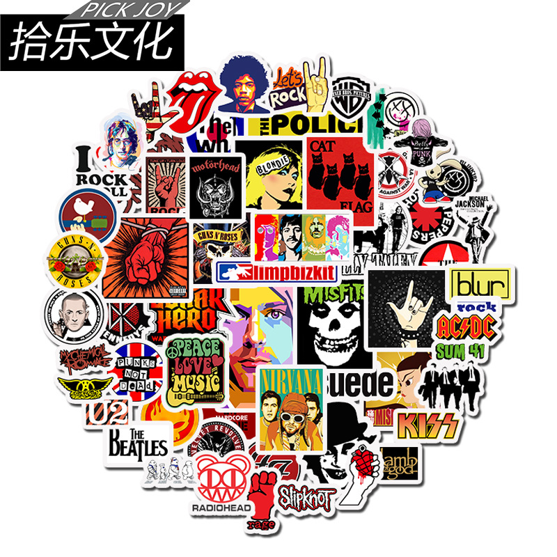 52pcs Retro Punk Rap Rock Band Music Stickers Green Day RHCP JDM Stickers To Guitar Suitcase Skateboard Car Helmet Decals Phone