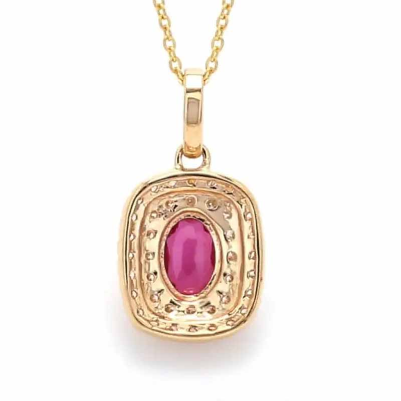 Huitan Luxury Red Oval Cubic Zircon Pendent Necklace Romantic Wedding Anniversary Gift for Lover Women Necklaces Fashion Jewelry