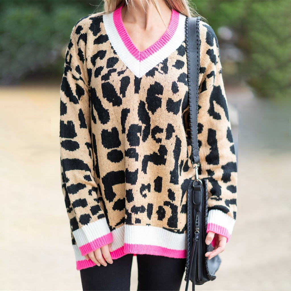 Fashion V-neck Womens Sweaters 2019 Sexy Trendy Leopard Print Autumn Winter Knit Patchwork Long Sleeves Pullovers Jersey Mujer