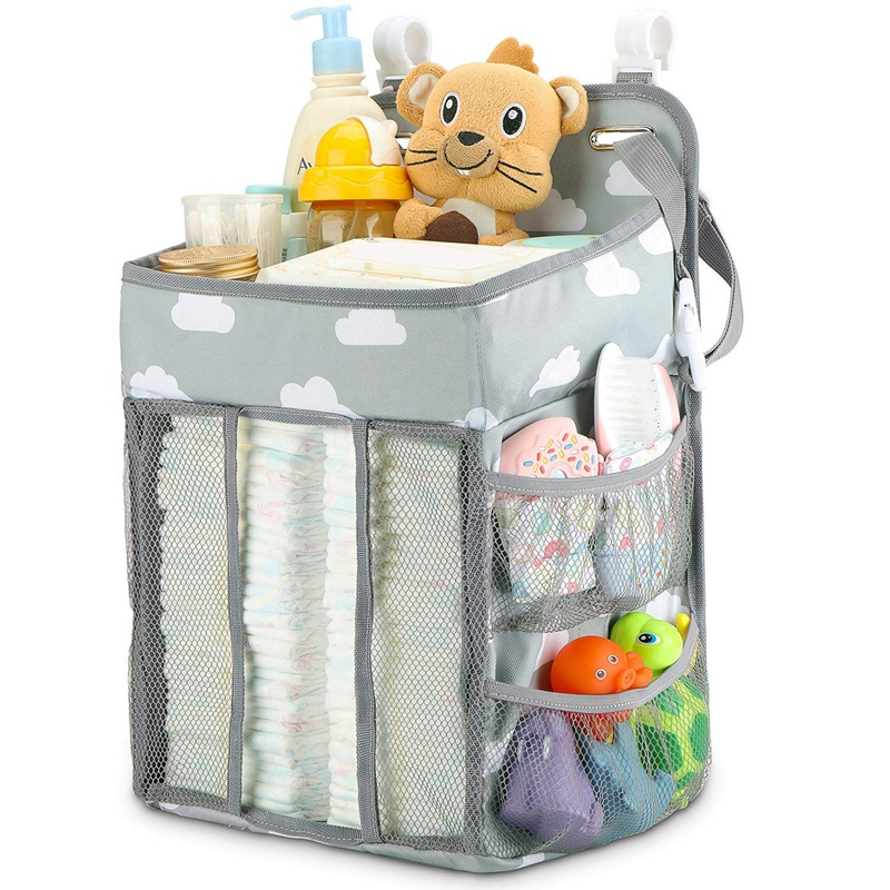 Hanging Diaper Caddy Organizer- Diaper Stacker For Changing Table, Crib, Playard Or Wall Nursery Organization Baby Shower