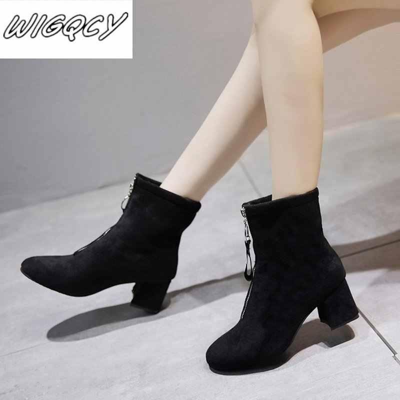 2019 winter nieuwe rits laarzen vrouwen suède comfortabele ronde kop Martin laarzen vrouwen plus katoen warm hoge hak laarzen mujer