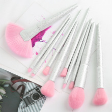 10 Rainbow Crystal makeup brush sets, 3D magic beauty tools, large fan shaped blush brush.