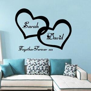Персонализированные пользовательские имя Виниловые наклейки на стену любящее сердце украшения дома Наклейка для спальни декор обои худож...