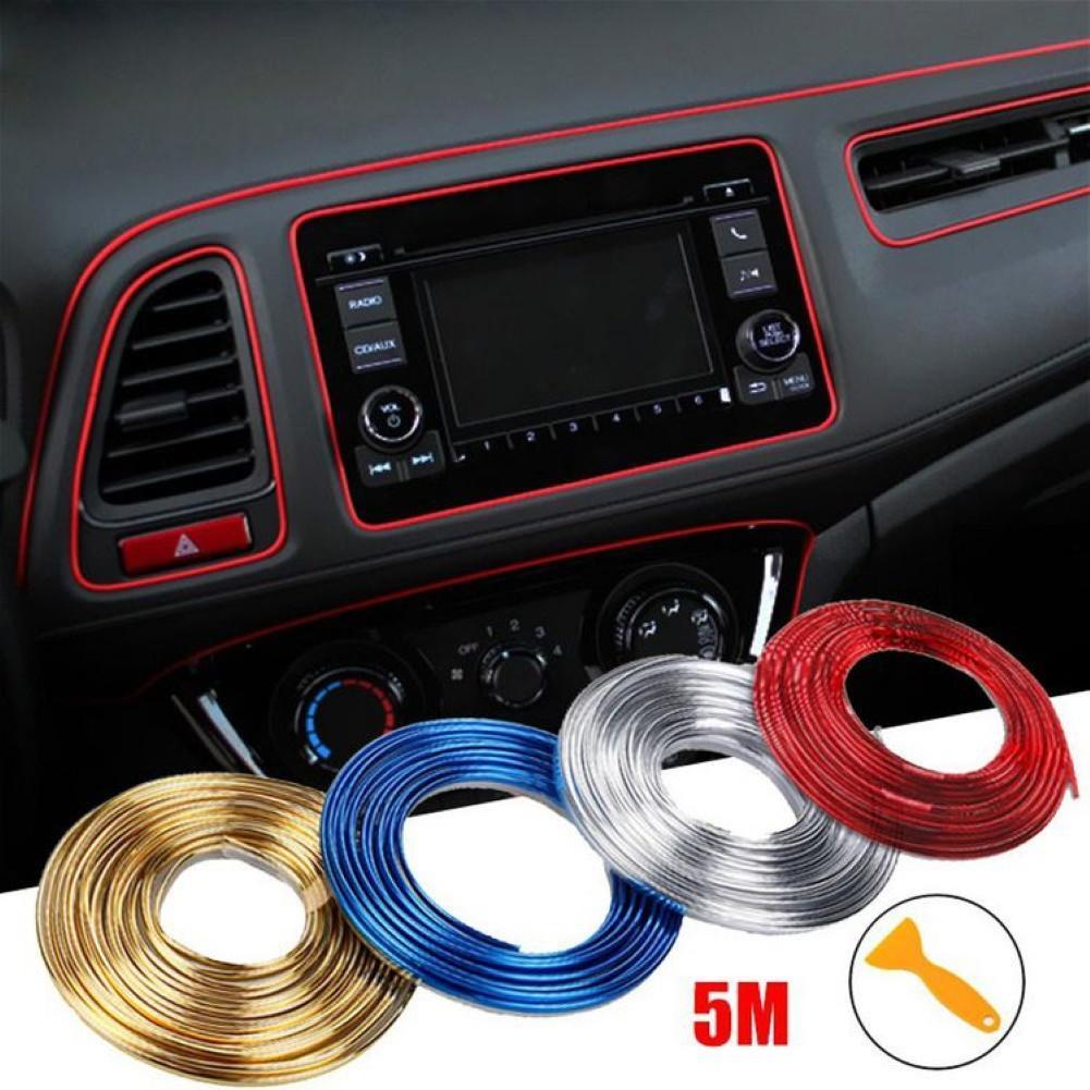 5M Silver Car Vehicle Interior Moulding Trim Strip Decorative Line Universal