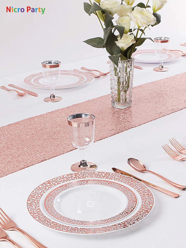 Plastic Plates Spoons Fork-Knives Dinnerware-Set Party-Supplies Rose-Gold-Cups Disposable