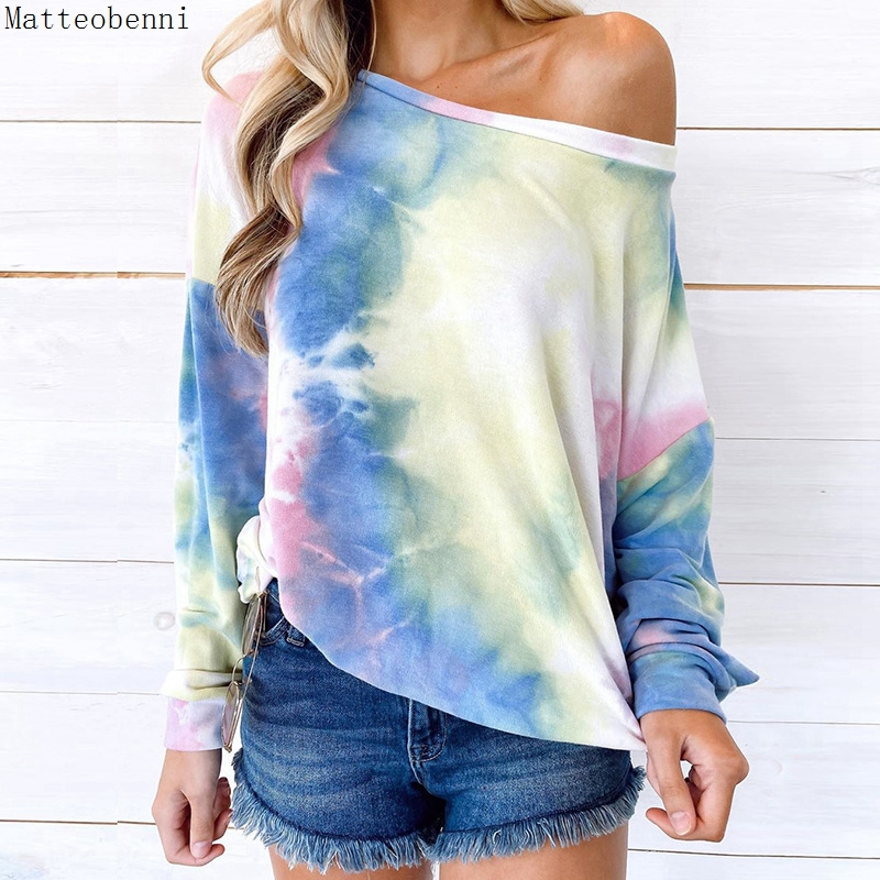women Fashion Tie Dye Hoodie sweatshirts Autumn Long sleeve 2020 oversize ladies pullovers casual loose hooded shirt Streetwear(China)