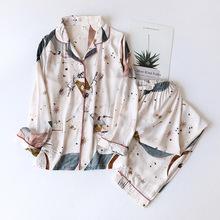 Damska letnia dwuczęściowa odzież domowa na wiosnę i lato cienka długa rękaw wiskoza bawełniana spodnie piżamy damskie letnia bawełniana kurtka tanie tanio Drukuj CN (pochodzenie) viscose V-neck Pełnej długości Pełna Wiosna