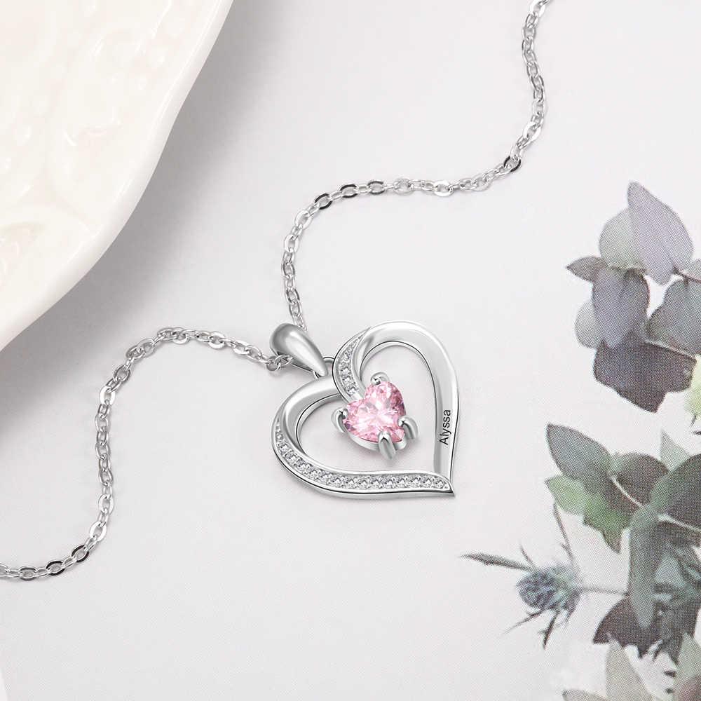 Nom personnalisé colliers pour femmes coeur pendentif colliers avec personnalisé 1 pierre de naissance anniversaire bijoux cadeaux (NE103356)