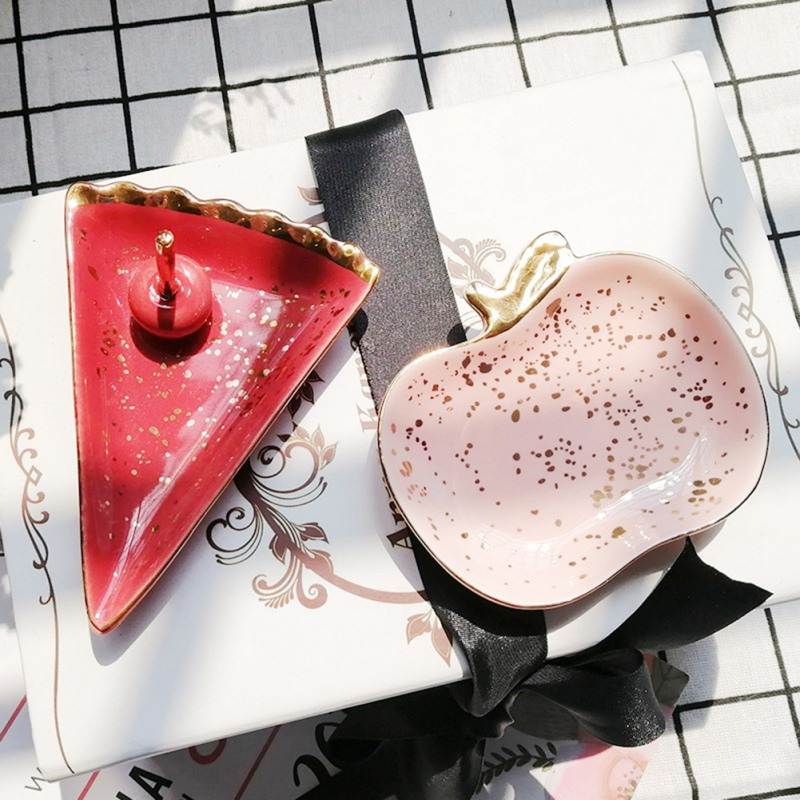 Nordic Ceramic Watermelon Apple Small Jewelry Dish Earrings Necklace Ring Storage Plates Fruit Dessert Display Bowl Decoration
