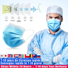 Fast delivery Hot Sale 3-layer mask 10pcs Face Mouth Masks Non Woven Disposable Anti-Dust Meltblown cloth Masks Earloops Masks(China)