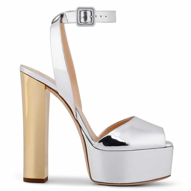 בוהן ציוץ פלטפורמה גבוהה העקב סנדלי נשים בתוספת גודל 34-46 בלינג פטנט עור שמנמן העקב קיץ נעלי גליטר סנדלי 2020