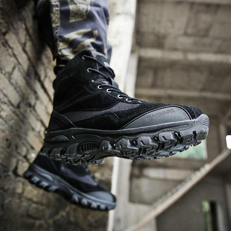 2019 мужские армейские ботинки из натуральной кожи с высоким берцем; повседневная обувь на плоской подошве для пустыни; мужские зимние ботинки на лодыжках в стиле полиции