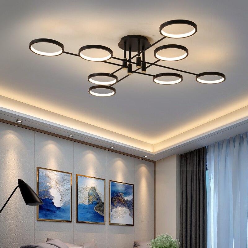 Modern LED avize oturma odası için uzaktan kumanda ile çalışma odası mutfak ev siyah şube tavan lambası aydınlatma armatürleri