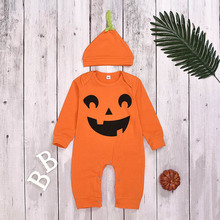 0-2Y Newly Cosplay Halloween Toddler Baby Kid Pumpkin Print Romper Jumpsuits Tops+Hats 2Pcs Costumes Clothes