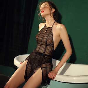 Image 1 - Women Sleepwear Sexy Night Dress with Panties Female Summer Thin Lace Temptation Style Perspective Backless Strap Nightdress