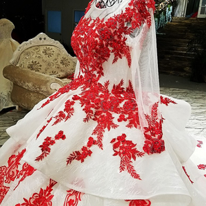 Image 5 - LS67890 party jurken geborduurd met stenen rode applique kralen lange mouwen lange trein prom avondjurk china groothandel 2018