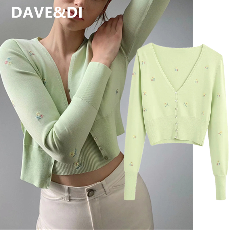 DAVE&DI Summer Indie Folk England Vintage Floral Embroidery Single Breasted Knitted Cardigans Jacket Women Sweaters Women Tops